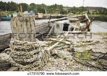 Stock Photography of Harbor, Water, Rope, River, Hull, Boat.