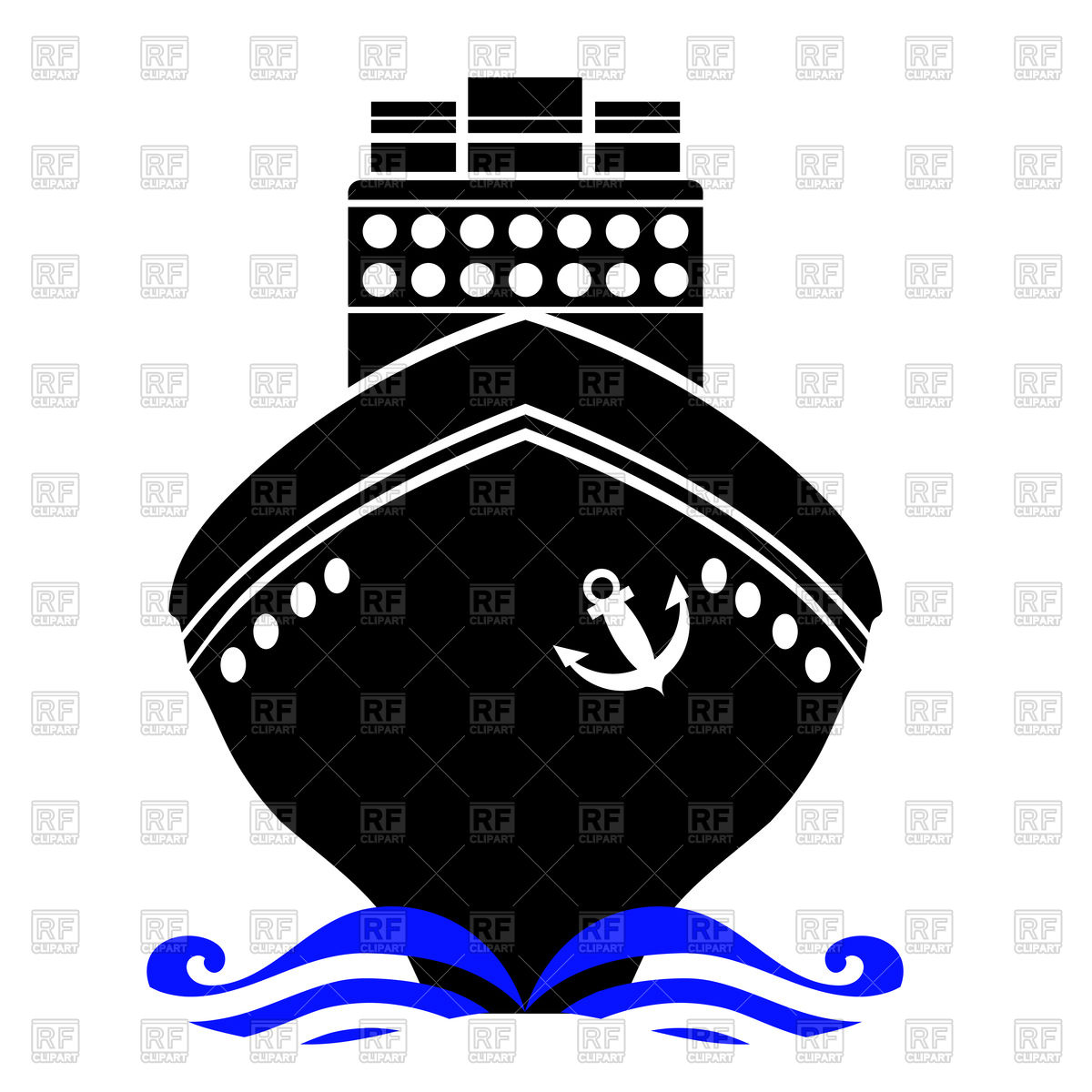 Ship silhouette front view Vector Image #96085.