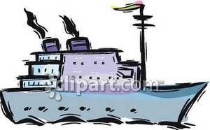 Side View of an Ocean Liner Royalty Free Clipart Picture.