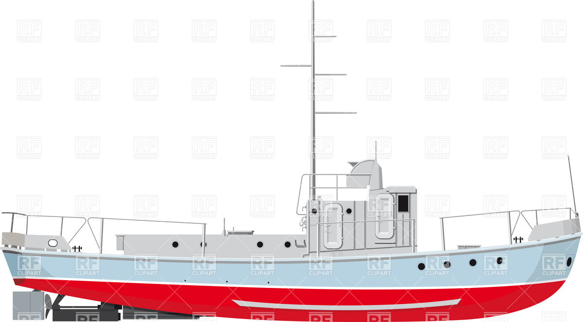 Side view of small fishing boat Vector Image #25136.
