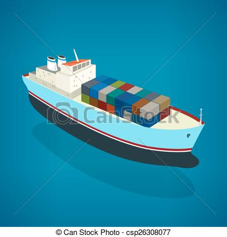 Vectors Illustration of Isometric container ship on the water, a.