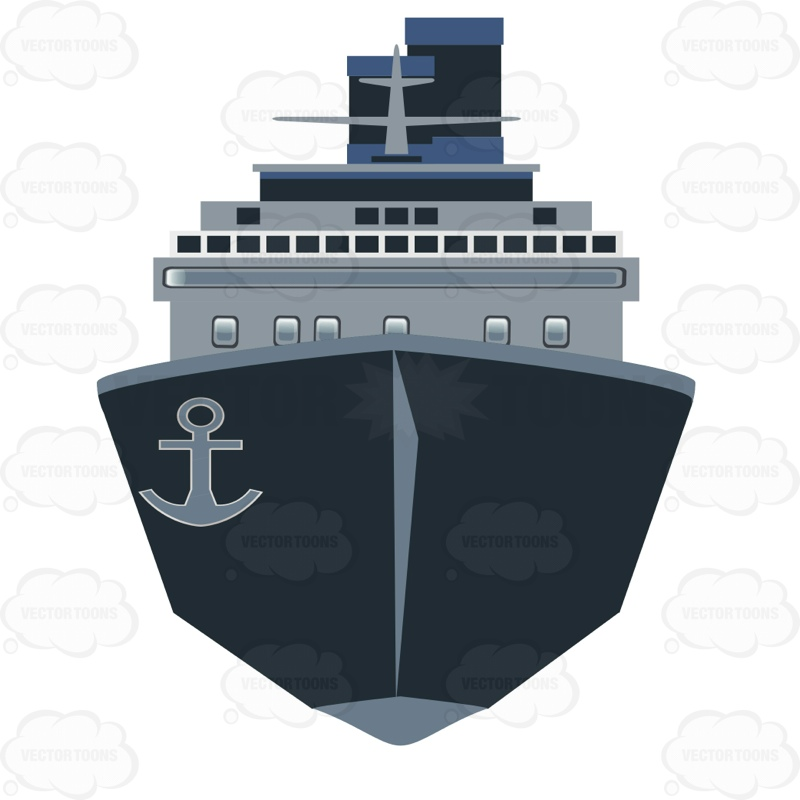 Front View Of A Cargo Ship Cartoon Clipart.