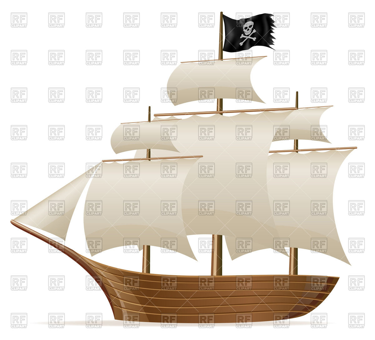 Pirate ship (side view) Vector Image #64911.