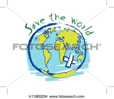 Clipart of Save the world sketch idea concept k11865204.