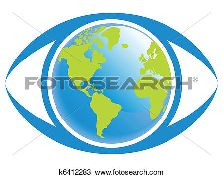 Clipart of World eye view. k6412283.