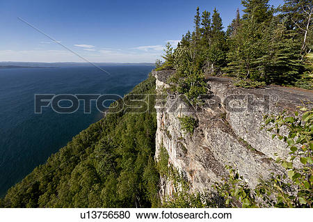 Stock Photography of Cliffs at the lookout over Thunder Bay on.