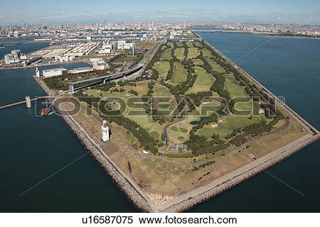 Stock Image of Aerial view of Tokyo Bay and Wakasu golf course.
