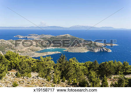 Picture of Panoramic view over Panormitis bay x19158717.