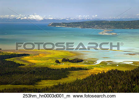 Stock Photo of Aerial view over the salt marsh of China Poot Bay.