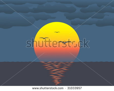 Showing post & media for Cartoon sunset over water.