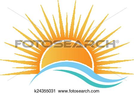 Clipart of Sunshine over water waves. k24355031.