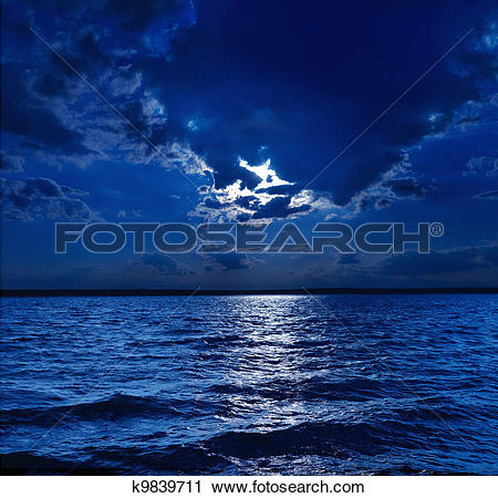 Stock Photography of moonlight over water k9839711.