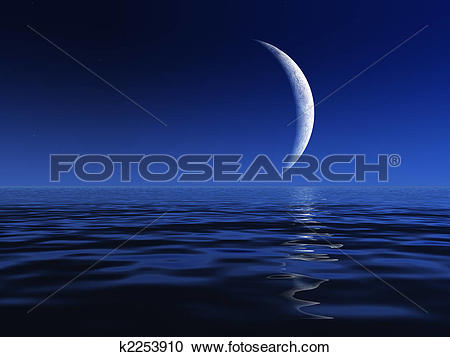 Stock Illustrations of Night Moon Over Water k2253910.