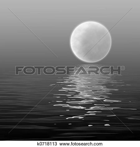 Drawing of moon over water k0718113.
