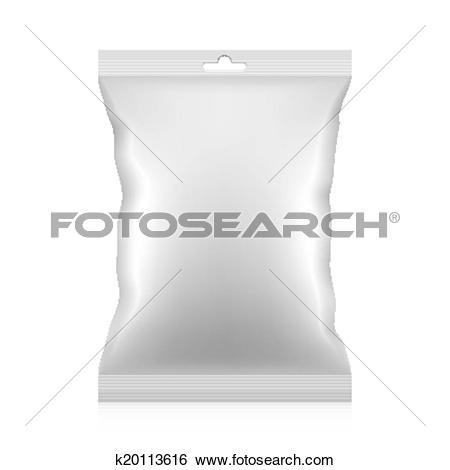 Clip Art of Blank snacks food packaging bag k20113616.