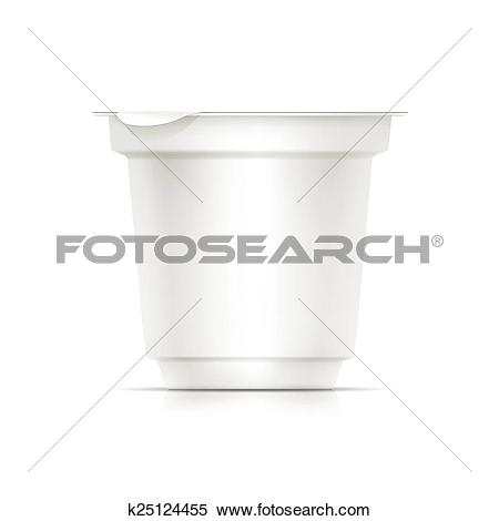Clipart of Vector Blank White Packaging Container for Yogurt, Ice.