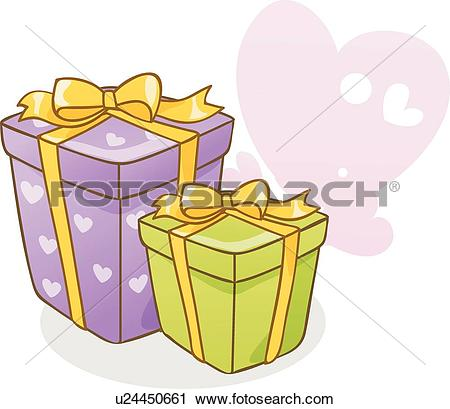 Clipart of packaging, icons, wrapping, boxes, boxes, heart, icon.