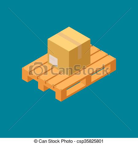 Vector Clipart of Closed carton delivery packaging box on wooden.