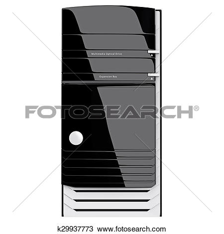 Drawing of PC system block front view on glossy panel. 3d graphic.