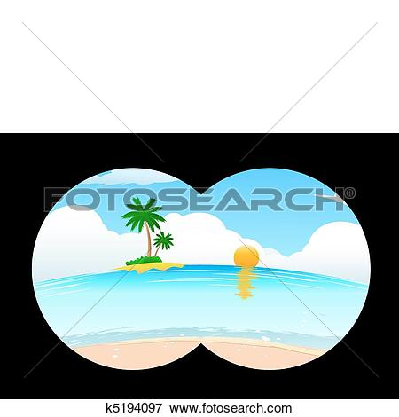 Clip Art of sea beach in binocular view k5194097.