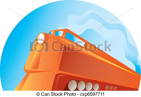 Clipart of diesel train viewed from low angle retro.