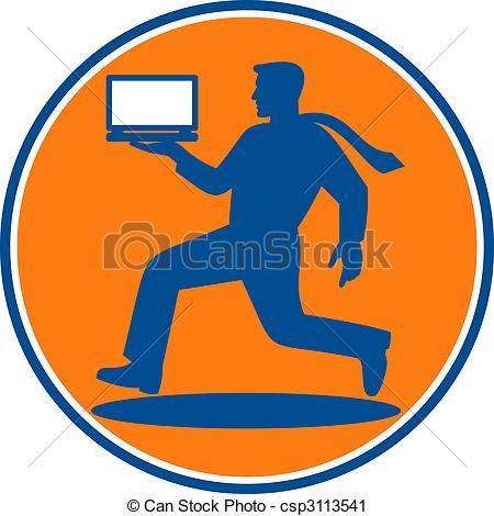 Clipart of man carrying laptop computer running viewed from the.