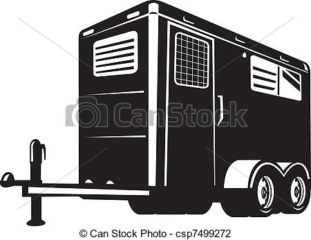 Clip Art of horse trailer viewed from low angle.