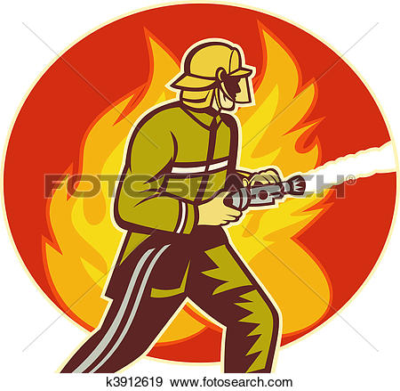 Stock Illustration of Firefighter fireman with water hose fighting.