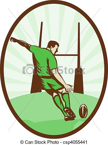 Clipart of Rugby player kicking ball at goal post viewed from the.