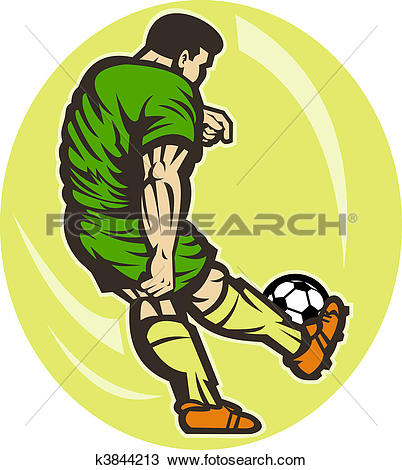 Drawing of Soccer player kicking the ball viewed from the rear.