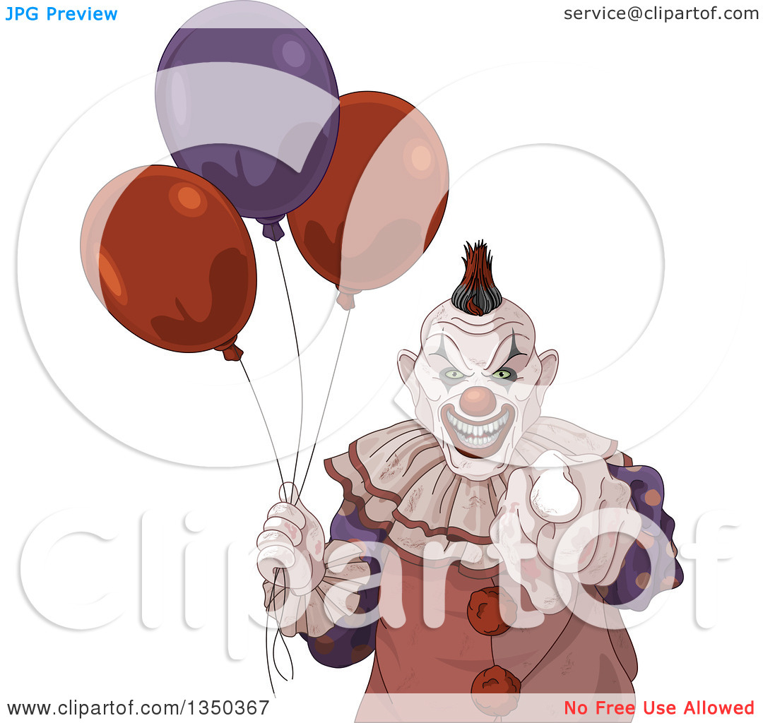 Clipart of a Scary Halloween Clown Pointing at the Viewer and.