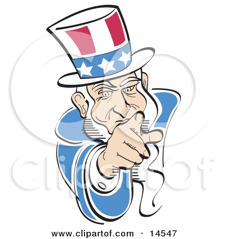 American Uncle Sam Pointing Out at the Viewer Clipart Illustration.