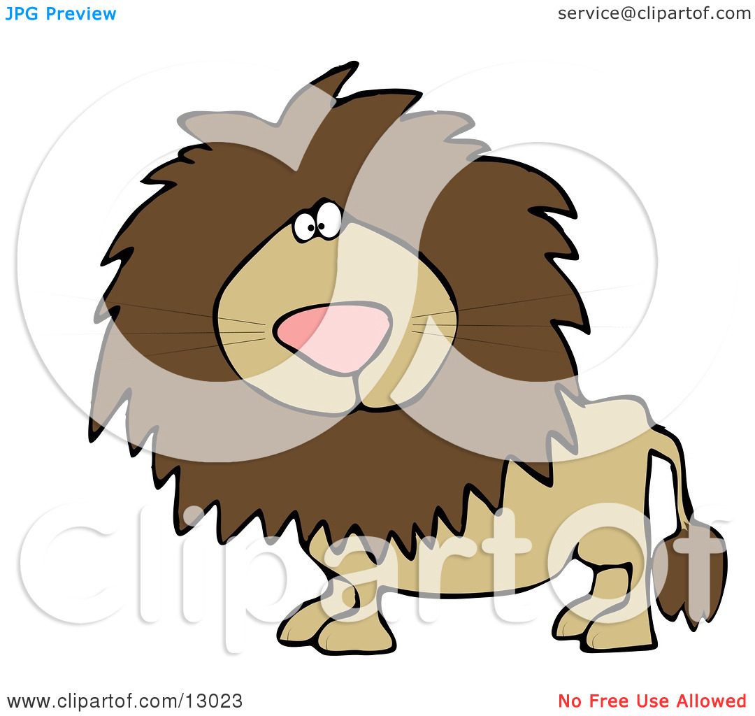 Big Male Lion Looking at the Viewer Clipart Illustration by Dennis.