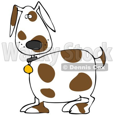 Illustration of a Cute White Dog With Brown Spots, Wearing A.