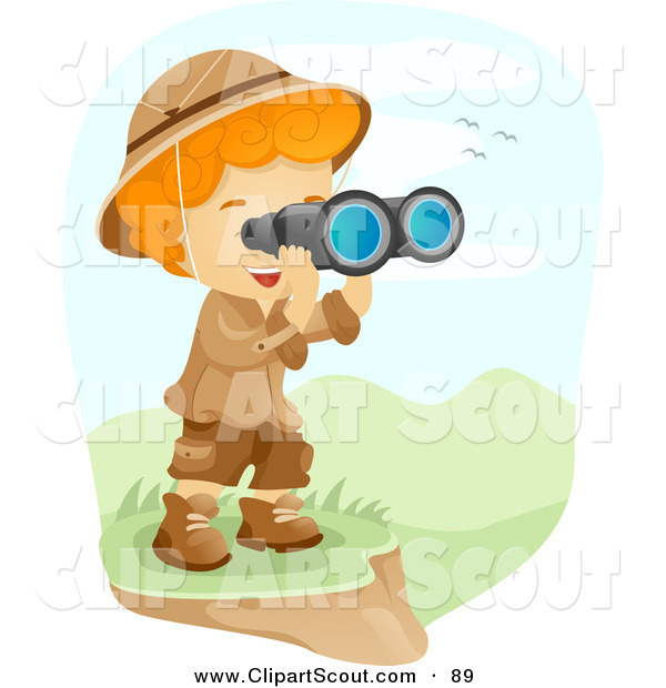 Clipart of a Scout Boy Viewing a Valley Through Binoculars by BNP.
