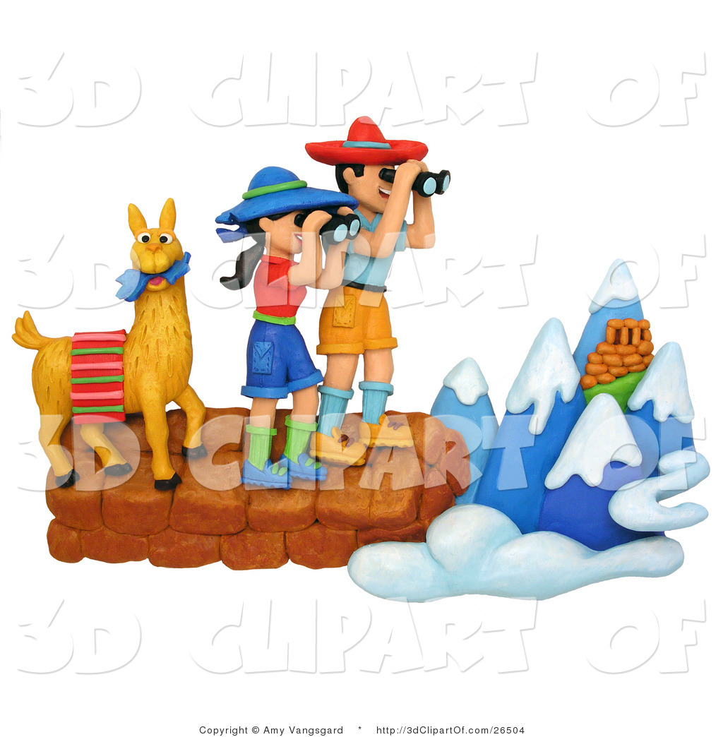 3d Clip Art of a 3d Hiker Couple and Llama Viewing the Andes.