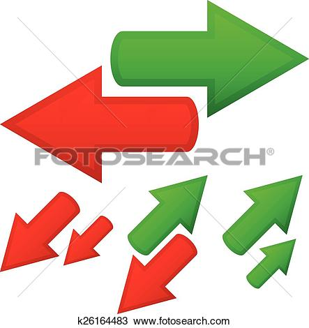 Clipart of Illustration of conceptual arrows. Opposite directions.