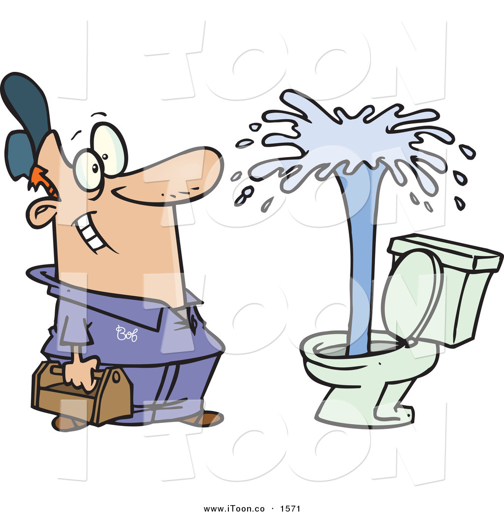 Cartoon Happy Male Plumber Viewing a Geyser in a Customer's Toilet.
