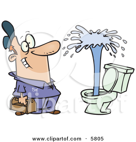 Happy Male Plumber Viewing a Geyser in a Toilet Clipart.