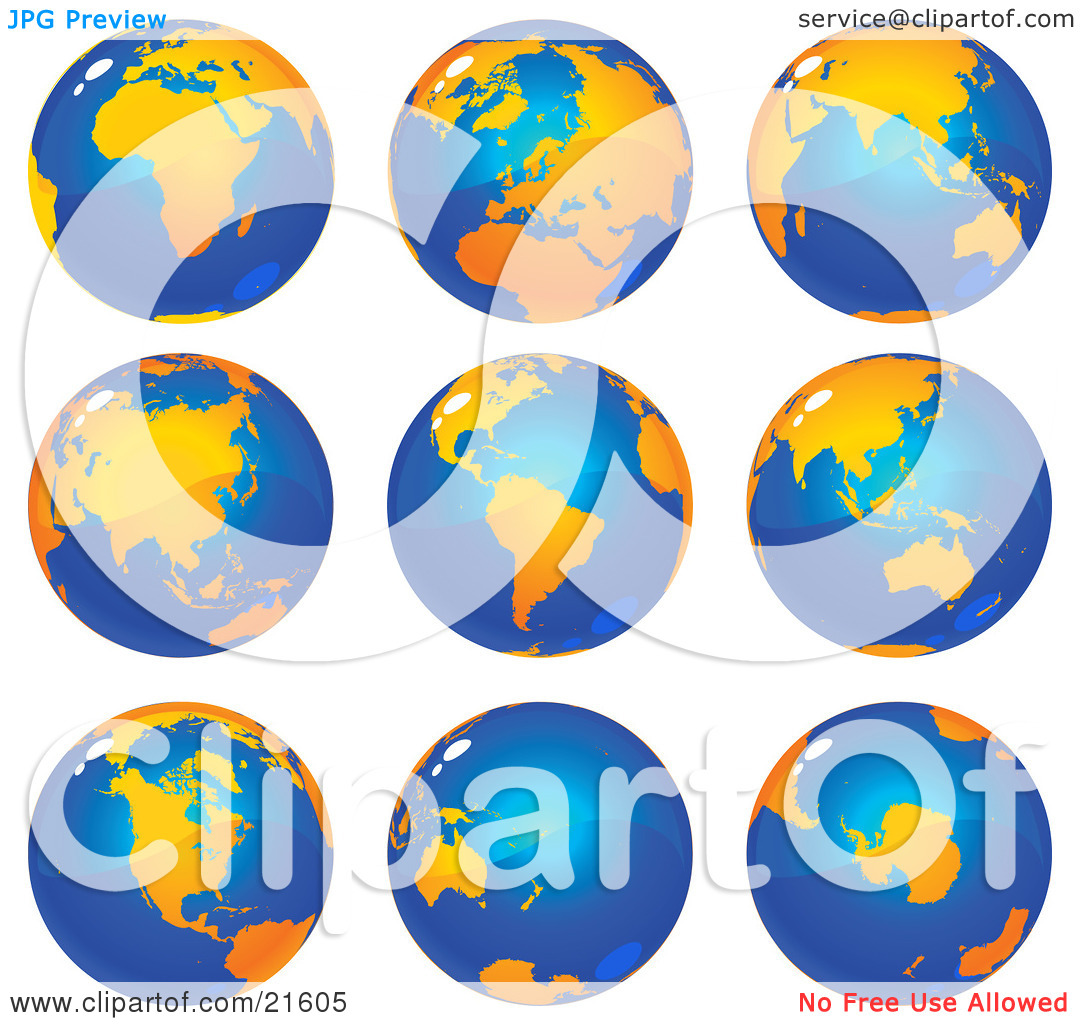 Clipart Illustration Graphic of Nine Views Of The Continents On.