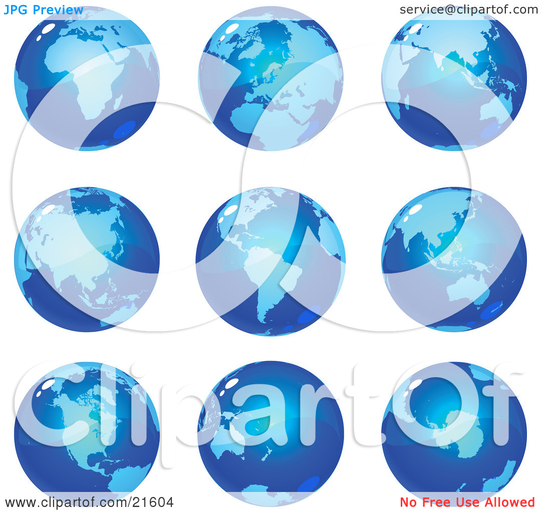 Clipart Illustration Graphic of Nine Global Views Of The Different.