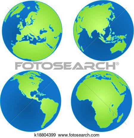 Clip Art of Four Earth Views k18804399.