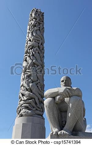 Stock Photographs of Statues in Vigeland park in Oslo, Norway on.