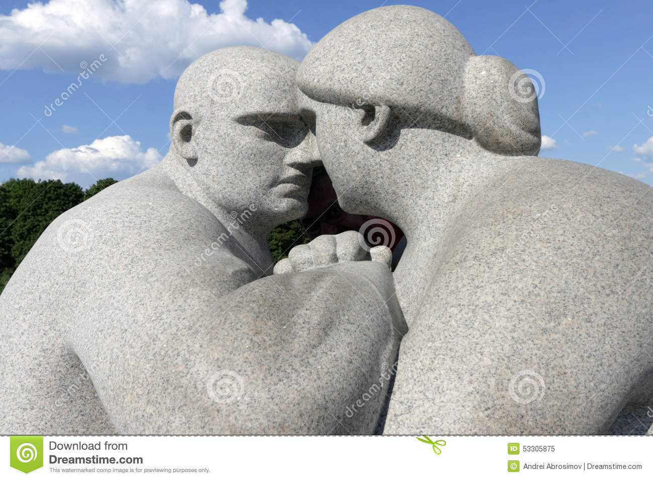 Vigeland Park, Oslo, Norway, A Couple Maintaining Eye Contact.
