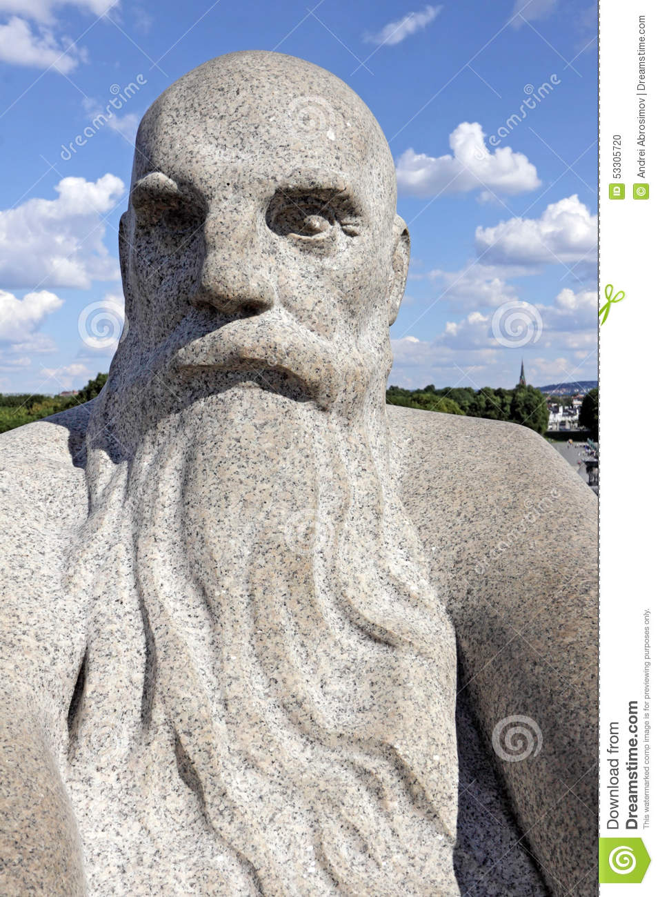 Vigeland Park, Oslo, Norway, The Head Of A Bald Old Man With A Big.