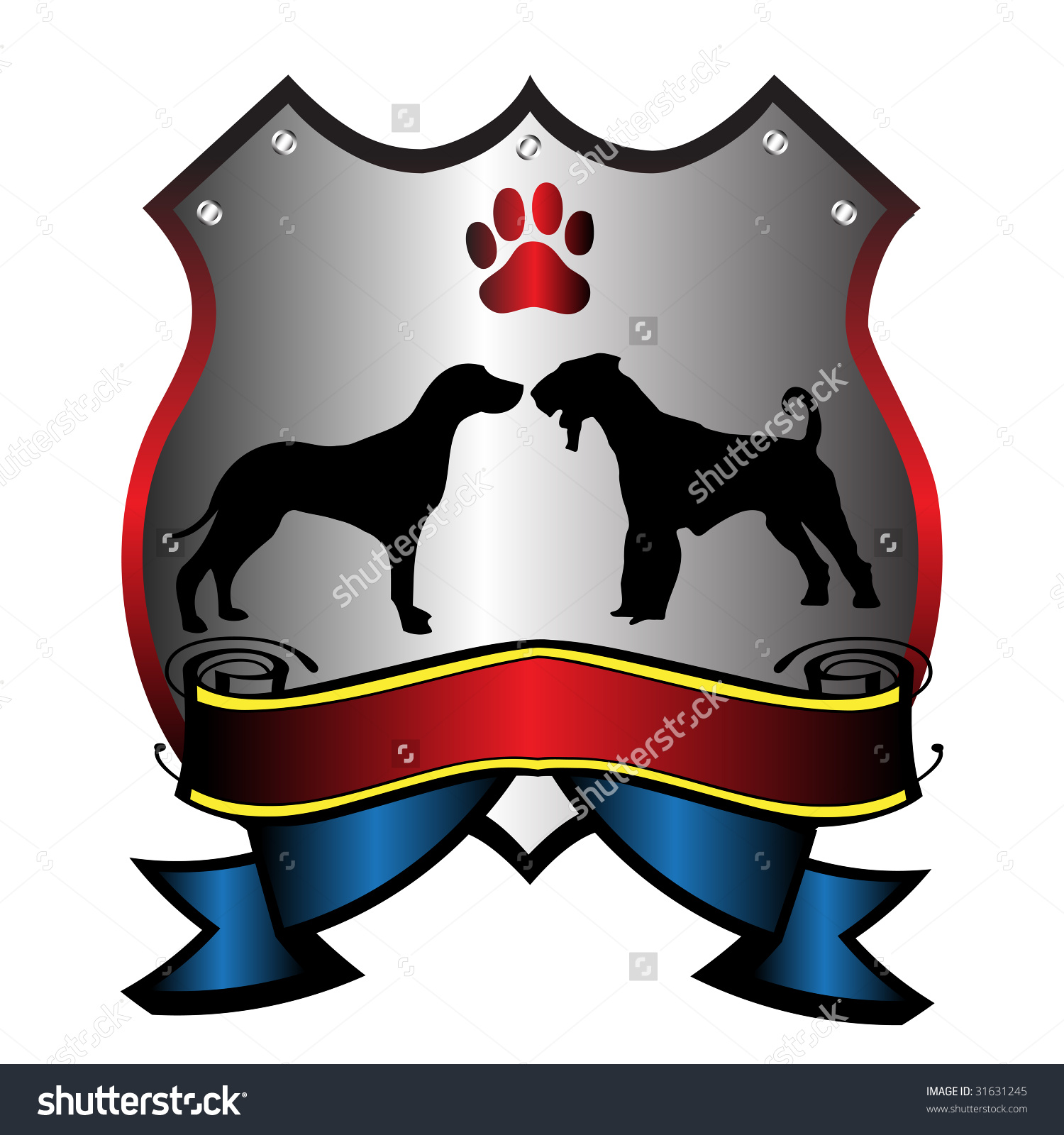 Abstract Colorful Security Shield With Paw Print And Dog Shapes.