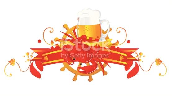 Vignettierung Bier Mit Krabben Vektor Illustration 97030152.