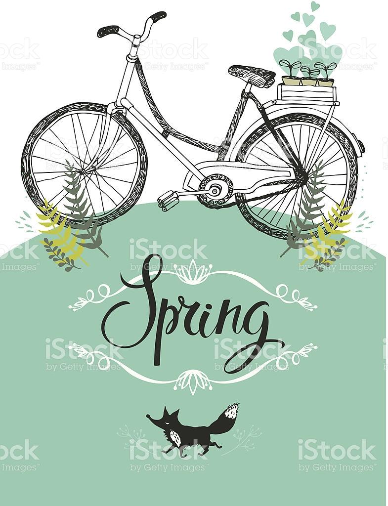 Vintage Fahrrad Und Fox Vignettierung Und Kalligrafiekunstwerken.