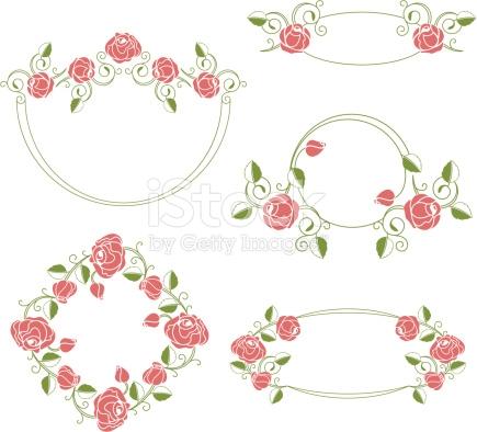 Florale Ornamente Vignettierung Und Frames Farbe Vektor.