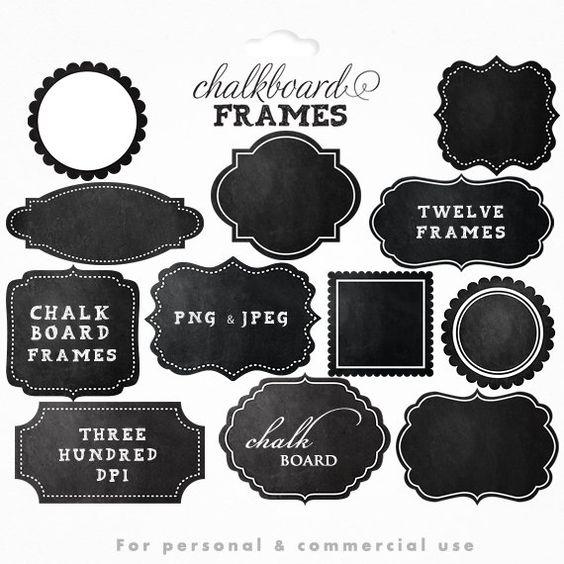 Chalkboard frames clipart.